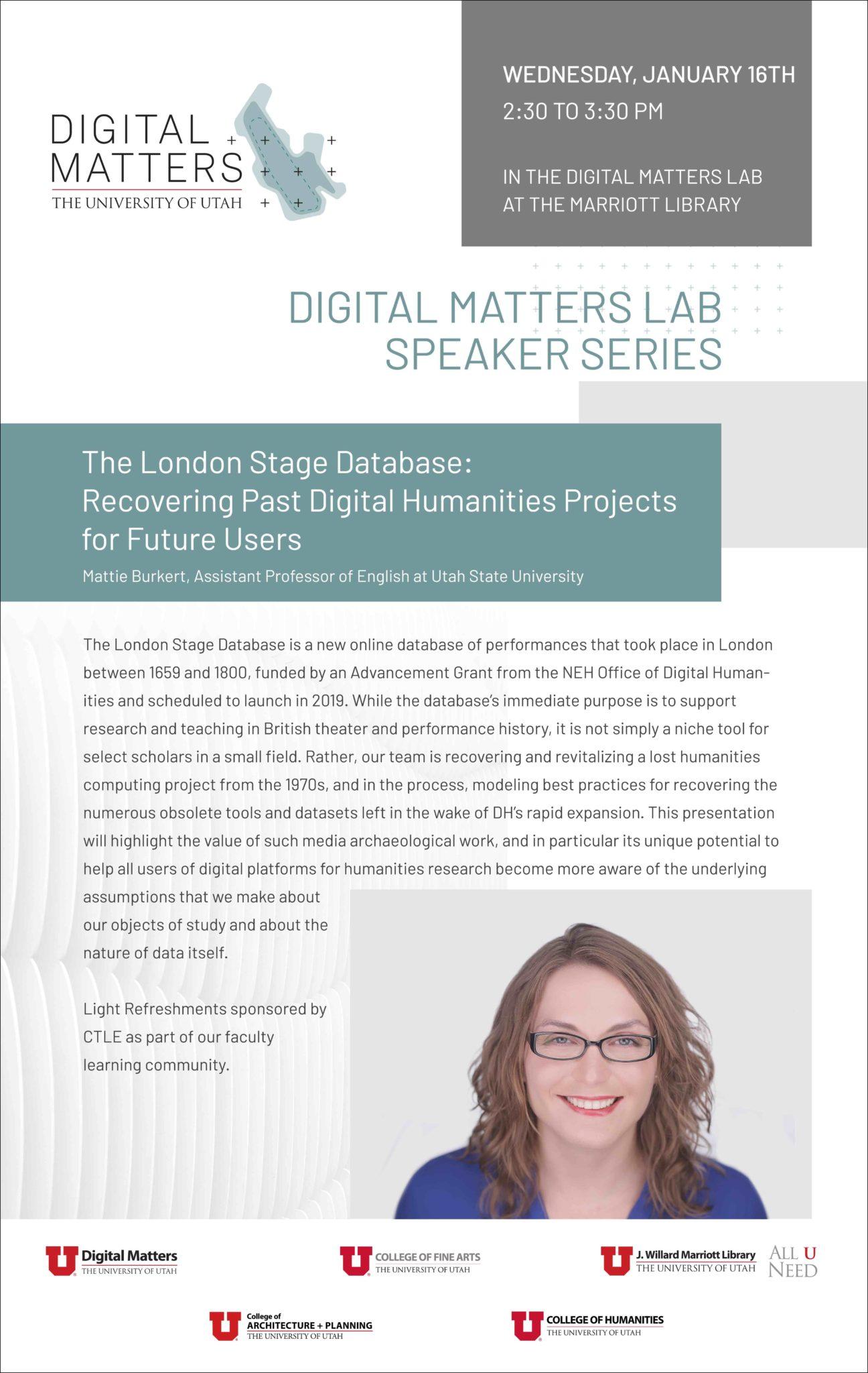 Digital Matters – RIG Speaker – Mattie Burkert, Assistant Professor